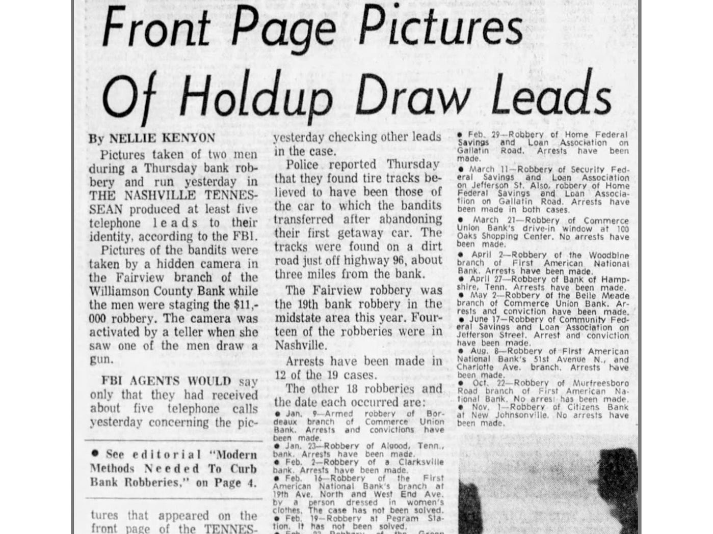 Tennessean 1968 clipping reports on how new camera system in Fairview bank captured photograph of robbers.