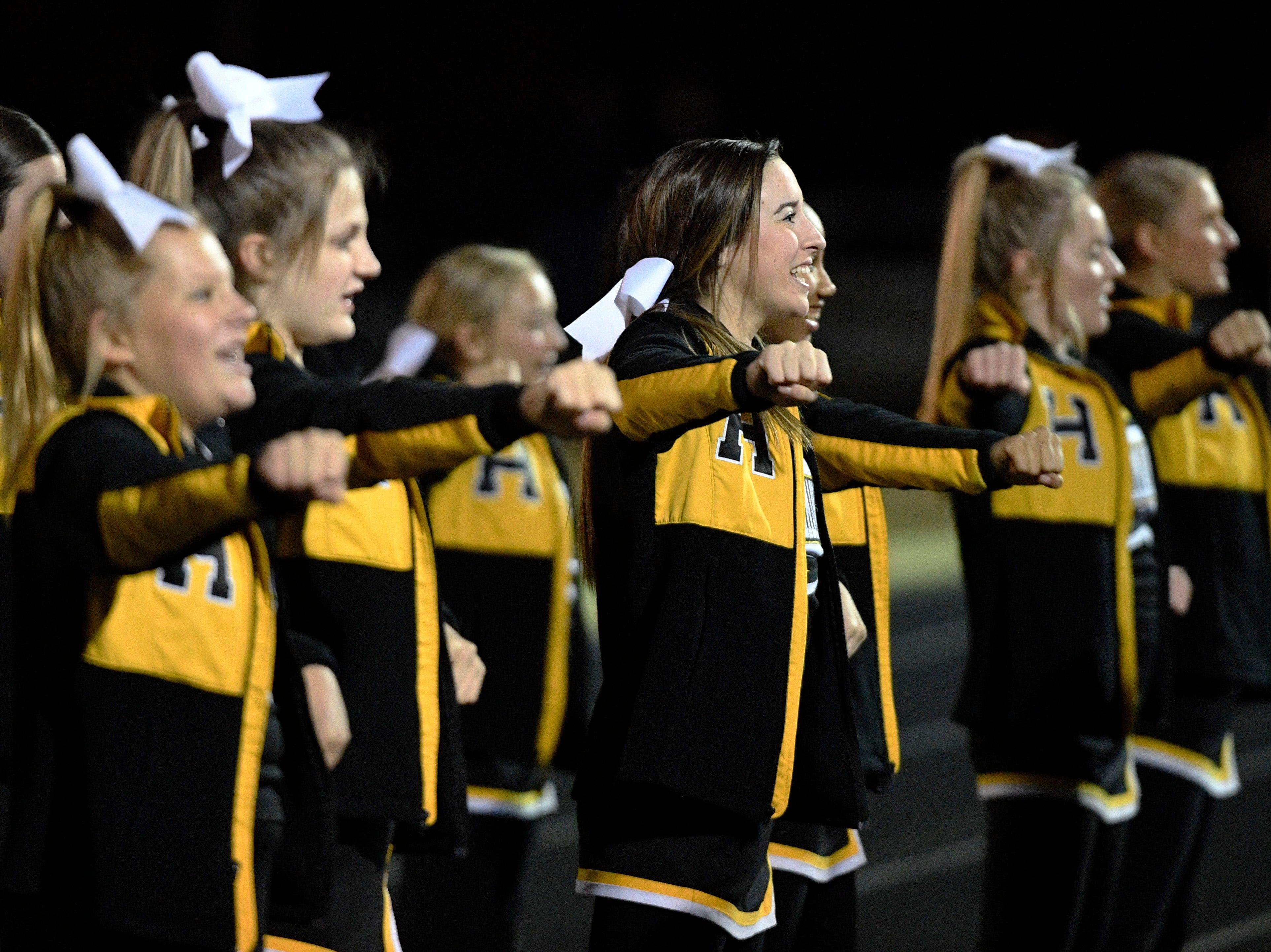 Hendersonville cheerleaders encourage the crowd before Riverdale plays at Hendersonville Friday Nov. 2, 2018, in Hendersonville, Tenn.