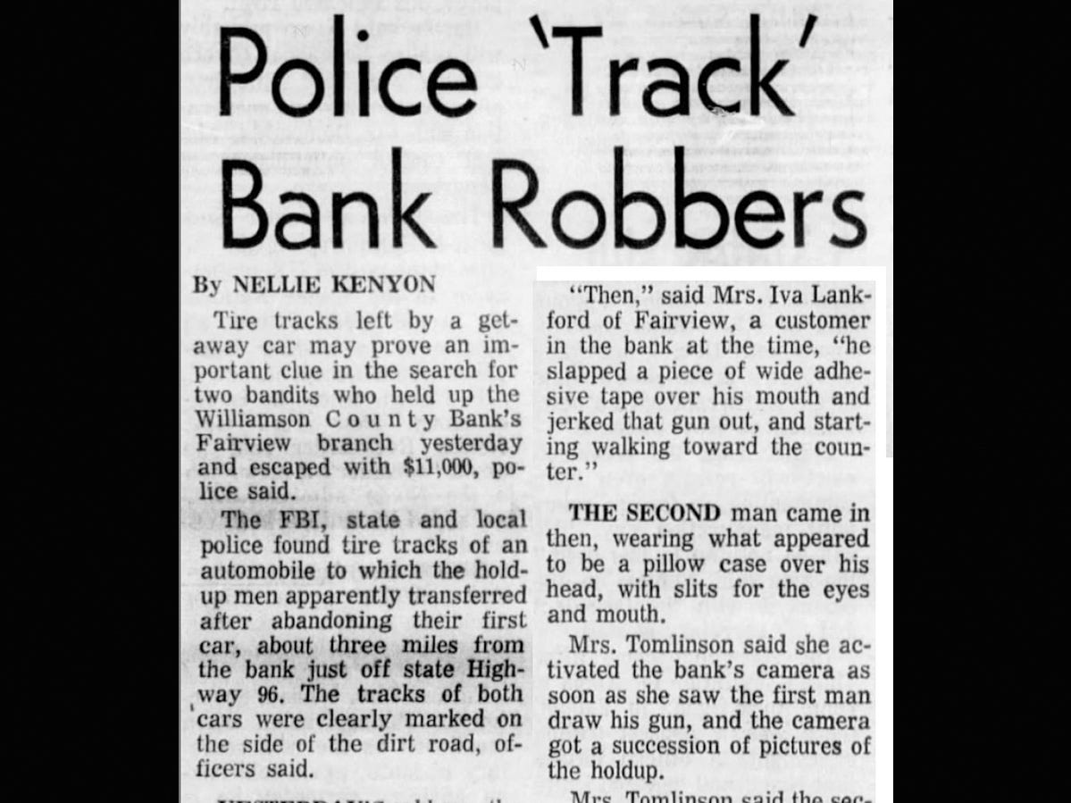 Tennessean clipping on 1968 Fairview bank robbery reports on how robbers were tracked by police.