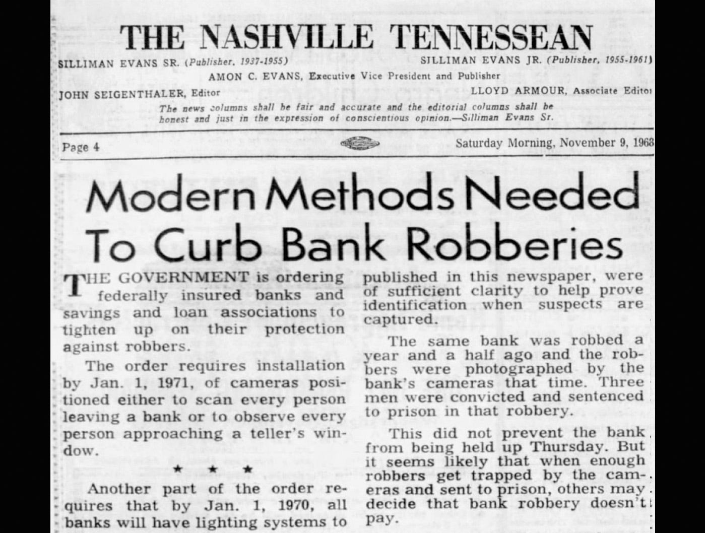 Tennessean editorial clipping on 1968 bank robbery issue.