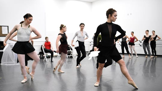 "Nashville Ballet's second company, NB2, rehearses ""72 Steps,"" a ballet about Tennessee's role in the ratification of the 19th Amendment, on Oct. 31, 2018. The Saturday performance is free and open to the public."