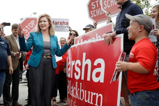 U.S. Rep. Marsha Blackburn, the Republican nominee for Senate, talks with supporters before voting Wednesday, Oct. 31, 2018, in Franklin, Tenn.