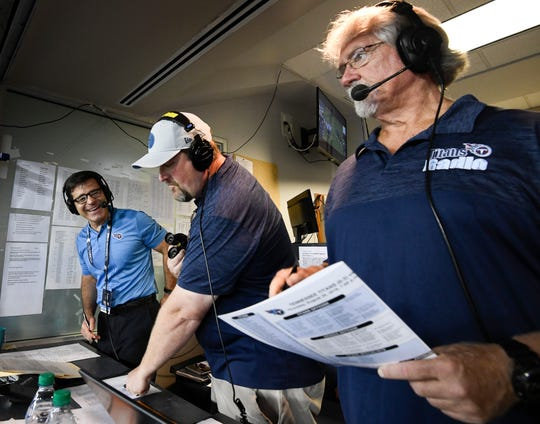 Titans Radio broadcasters Mike Keith, Rhett Bryan and Dave McGinnis call the Titans game against the Vikings Nissan Stadium for their radio broadcast during the game Thursday, Aug. 30, 2018, in Nashville, Tenn.