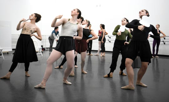 """Nashville Ballet's second company, NB2, rehearses """"72 Steps,"""" a ballet about Tennessee's role in the ratification of the 19th Amendment, on Oct. 31, 2018. The Saturday performance is free and open to the public."""