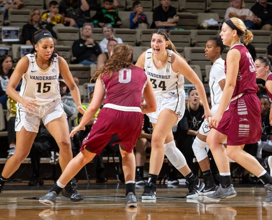 Mariella Fasoula (34) sets the defense for Vanderbilt against Indianapolis in an exhibition game at Memorial Gym.