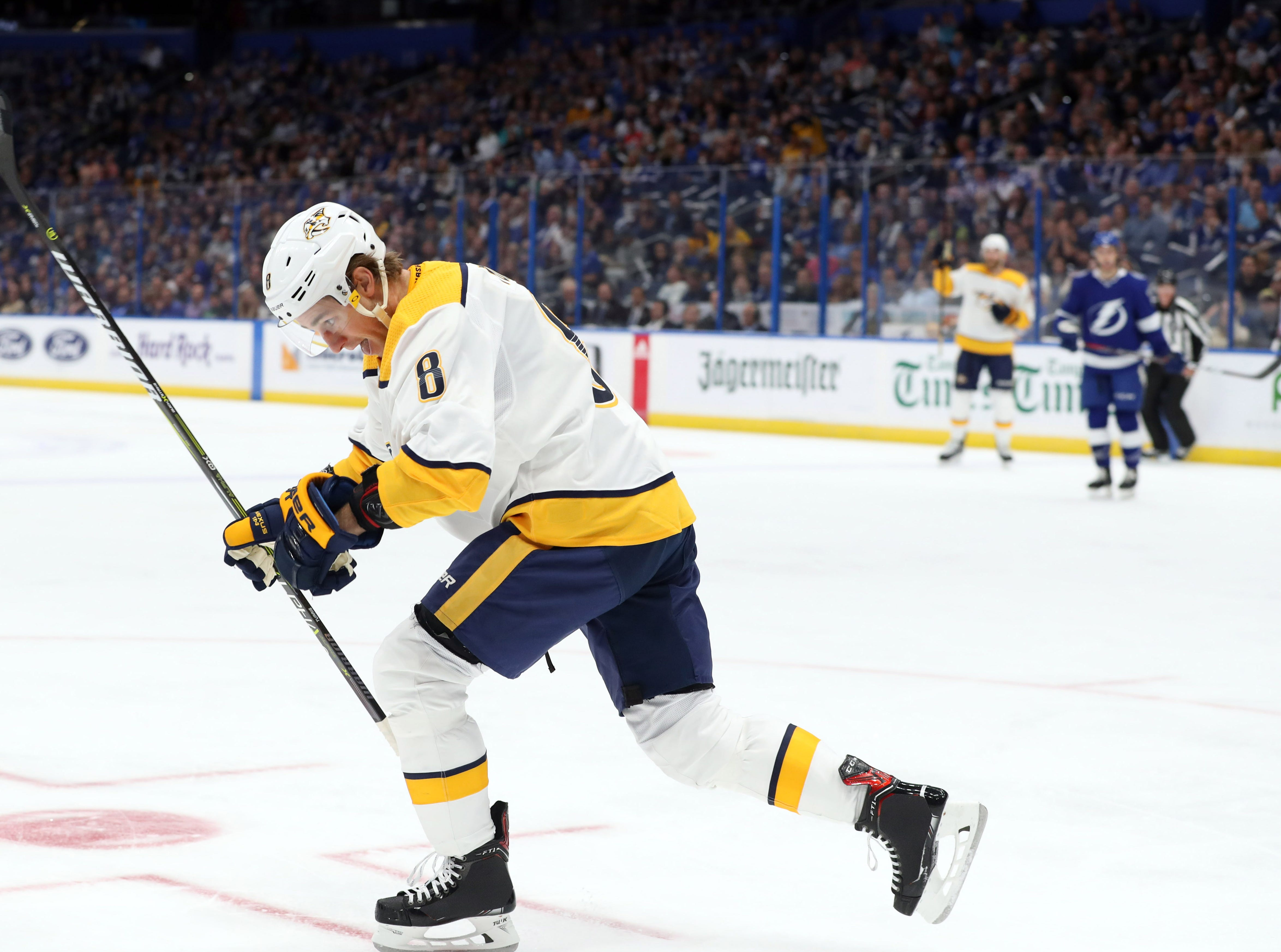 Nashville Predators center Kyle Turris (8) celebrates his goal against the Tampa Bay Lightning during the first period at Amalie Arena.