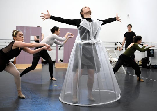 "Nashville Ballet's second company, NB2, rehearses ""72 Steps,"" a ballet commissioned by the League of Women Voters of Nashville about Tennessee's role in the ratification of the 19th Amendment, on Oct. 31, 2018."