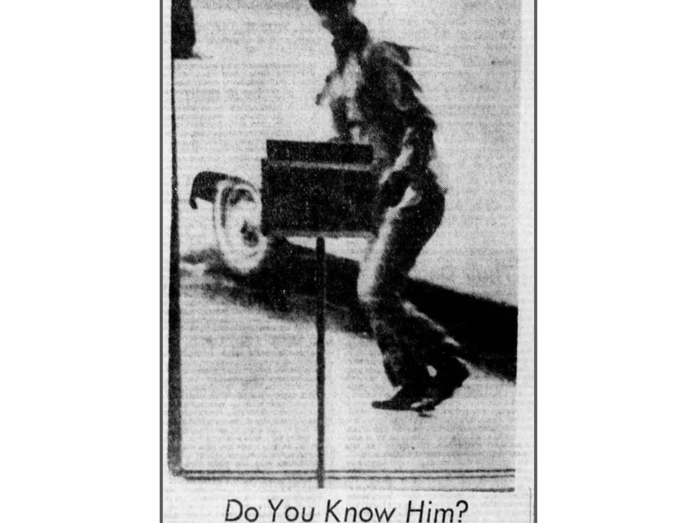 This image of a Fairview bank robbery suspect ran in The Tennessean in November 1968.