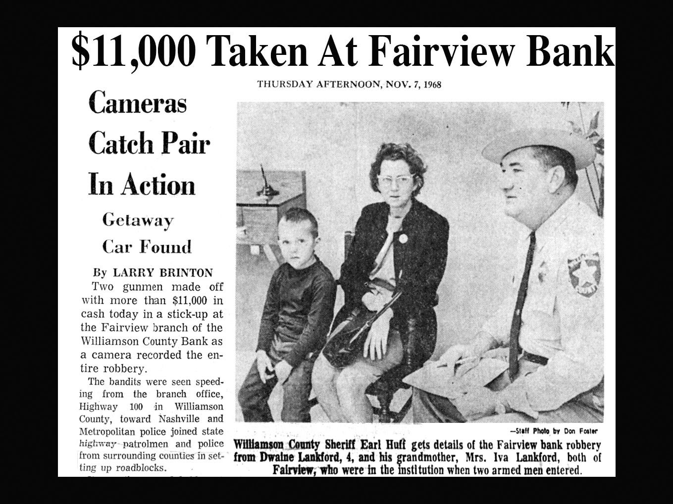 This newspaper clipping from the Nashville Banner in November 1968 reports on the robbery of the Fairview Branch of the Williamson County Bank.