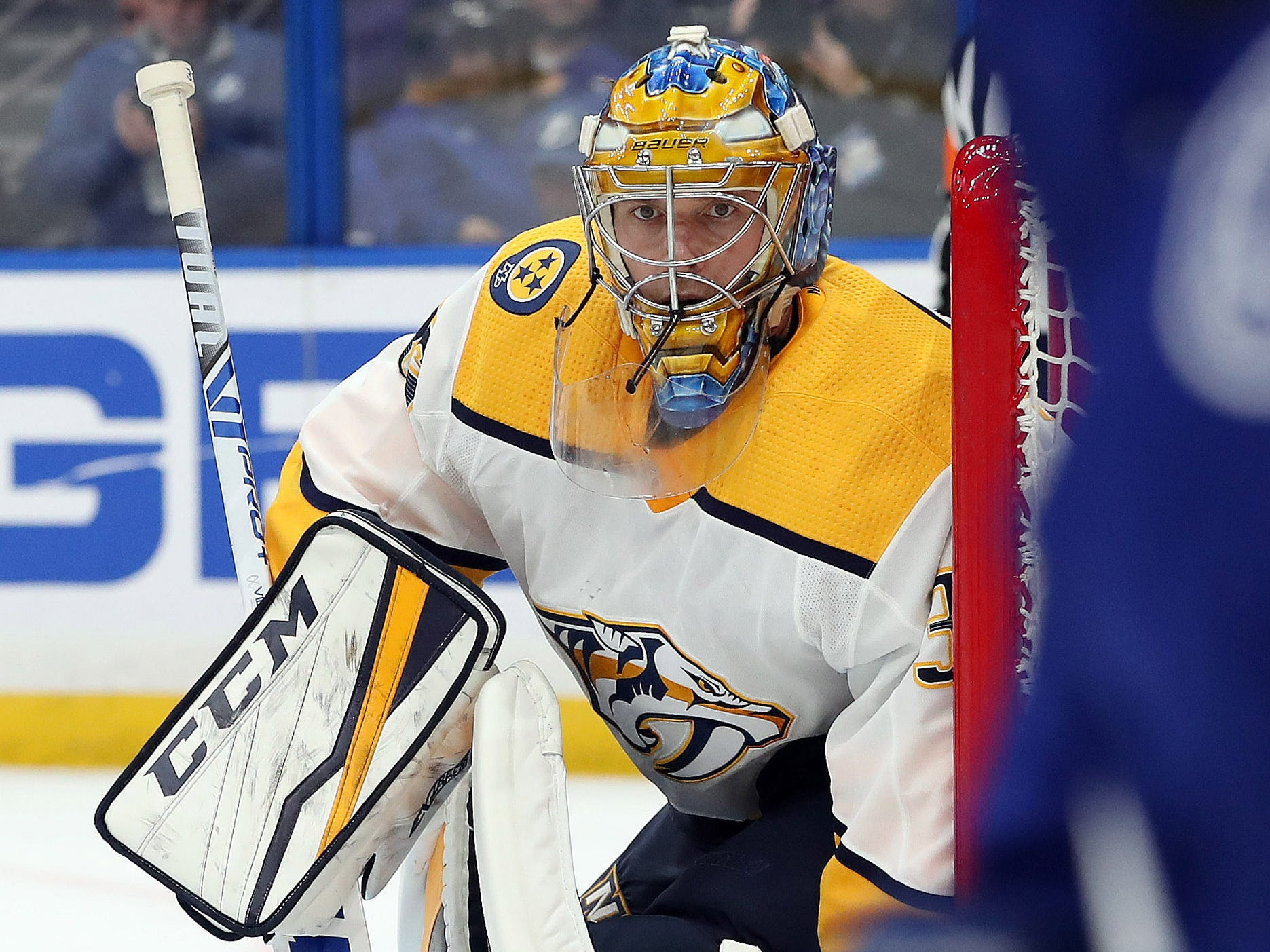 Nashville Predators goaltender Pekka Rinne (35) looks on against the Tampa Bay Lightning during the second period at Amalie Arena.