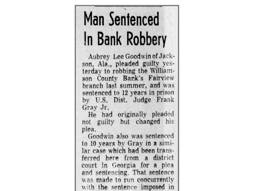 Tennessean clipping on 1968 Fairview bank robber.