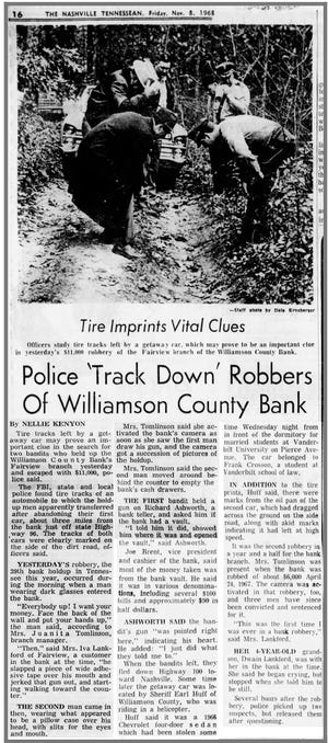1968 Tennessean newspaper clipping reports on how police tracked down robbers of Fairview bank.