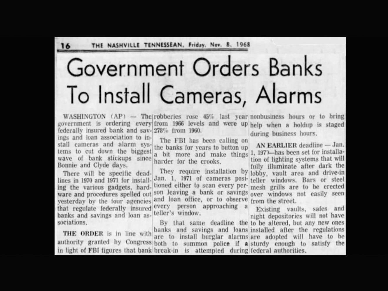 Tennessean clipping from 1968 reports on government mandate for banks to install cameras to deter robberies.
