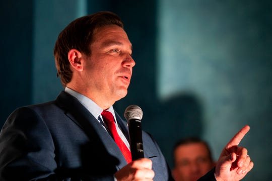 Republican gubernatorial candidate Ron DeSantis speaks to supporters during a meet-and-greet Nov. 2, 2018, at Yabba Island Grill in Naples, Florida.