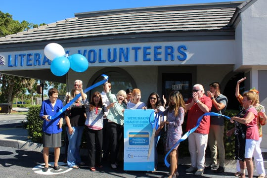 Literacy Volunteers of Collier County celebrates its Blue Zones Project recognition.