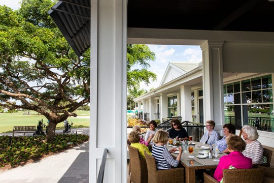 A group of women enjoy lunch at The Veranda at the Country Club of Naples on Friday, November 2, 2018. Overlooking the first hole of the golf course and the putting green, The Veranda, with 64 seats,Êserves the same food asÊthe Tavern by the Green, a casual, indoor restaurant with bar, pub and bistro menus, which was also greatly expanded as part of the last renovation.