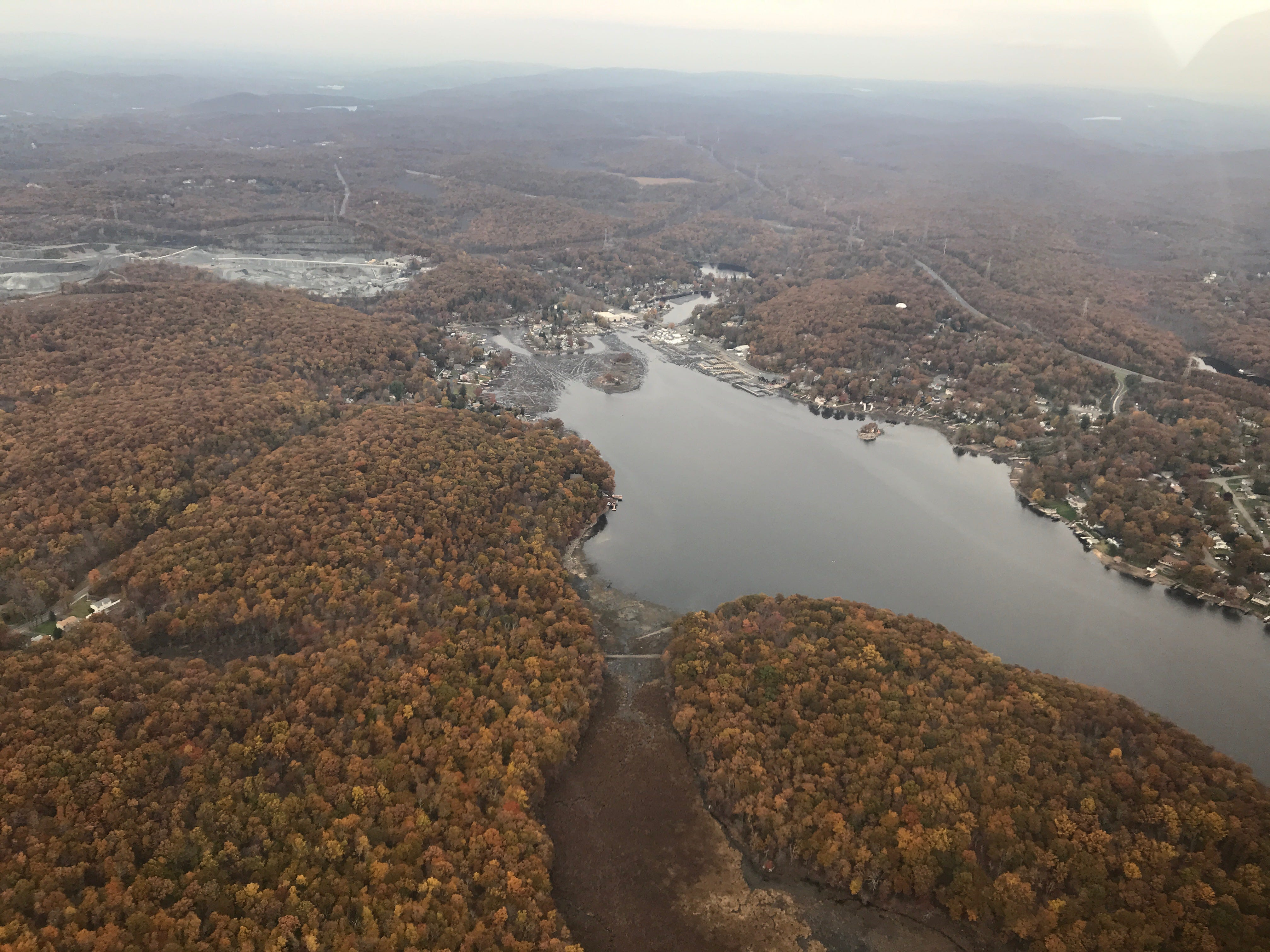Aerial of Lake Hopatcong during drawdown.