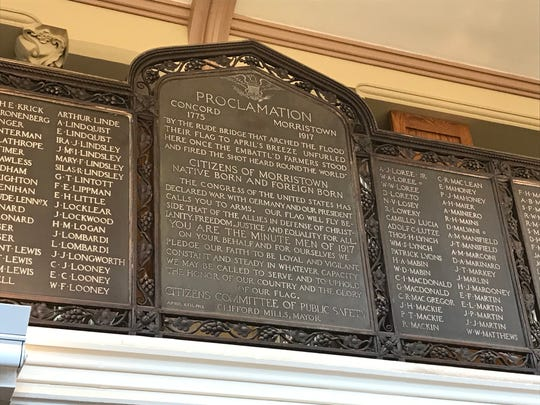 The Morristown Public Library WWI Honor Roll memorializes the 800 people from Morristown who served in World War I.