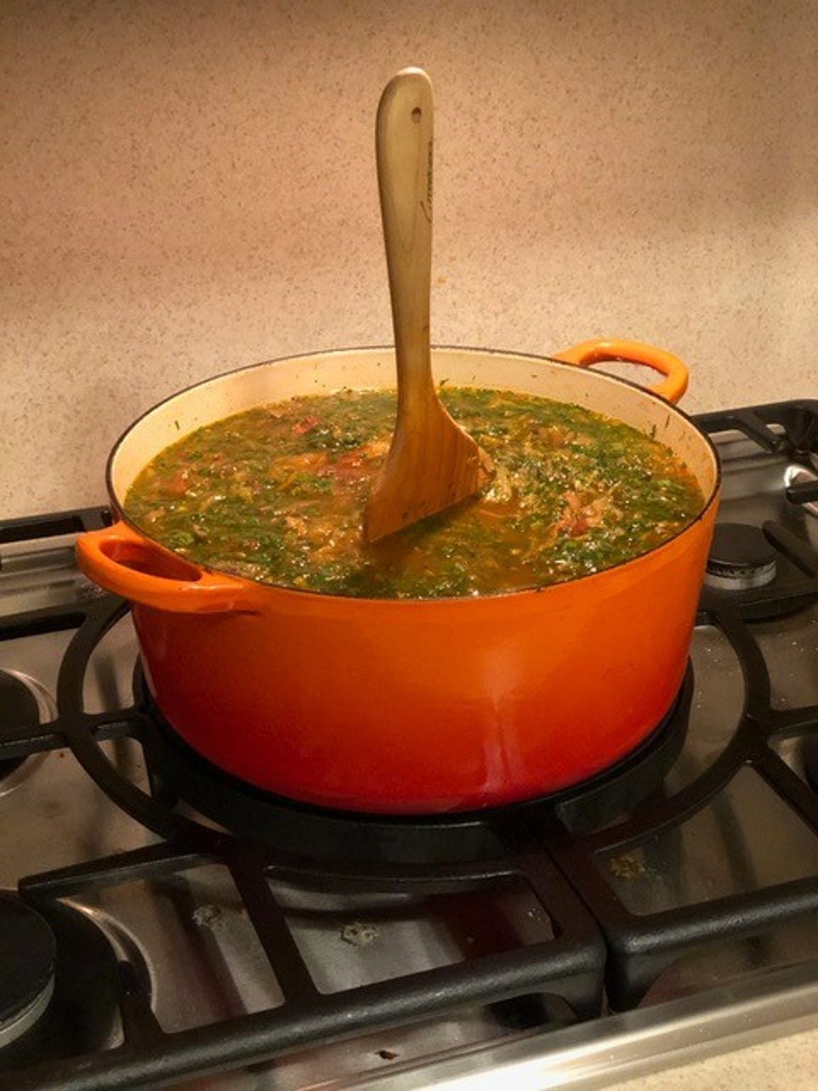 Russian schchi soup is so thick a spoon can stand in it.