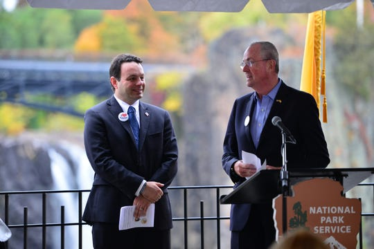 Paterson Mayor, Andre Saying and N.J. Governor Phil Murphy at the launch the next phase at the Great Falls National Park in Paterson on Friday morning November 2, 2018.