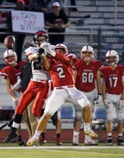 Glen Rock football at Westwood on Friday, November, 2, 2018. WW #2 Nick Baez breaks up a pass intended for GR #22 Anthony Dalesso in the first quarter.