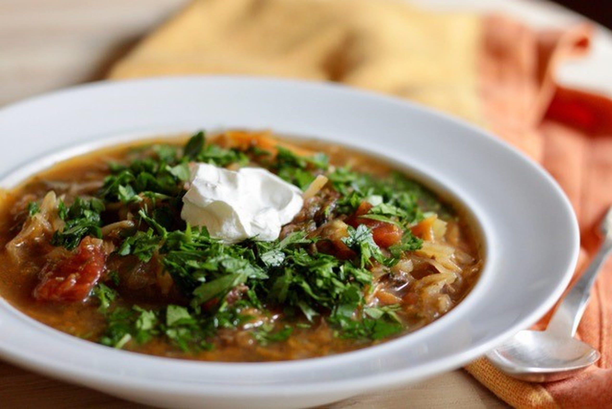 A bowl of sour schchi soup.