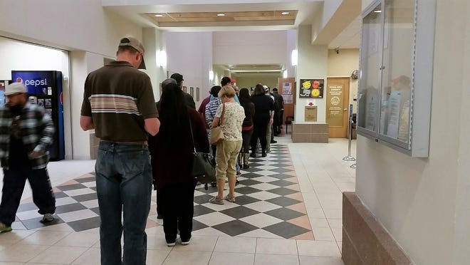 A rush of voters attended an early-voting site at the Doña Ana County Government Center on Friday, Nov. 2, 2018. Early-voting turnout was stronger than usual for the mid-term election.