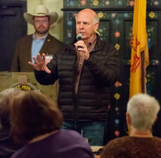 Steve Pearce, who is running for governor, speaks on Thursday, Nov. 1, 2018, at La Posta Restaurant during his final appearance in Las Cruces before Tuesday's Election Day.