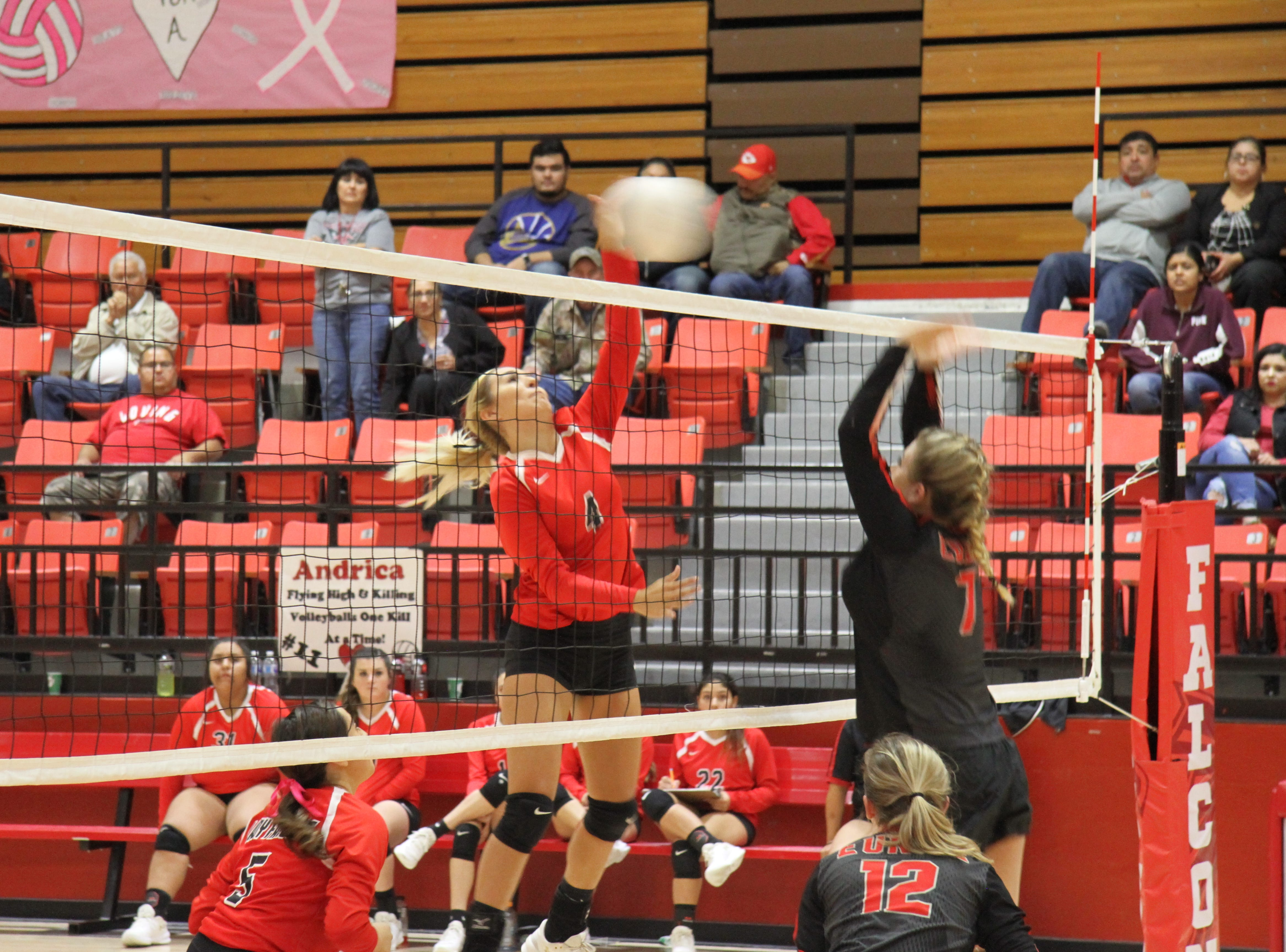 Chassity Onzures loads up for a spike during Thursday's match against Eunice. Loving won in four sets.