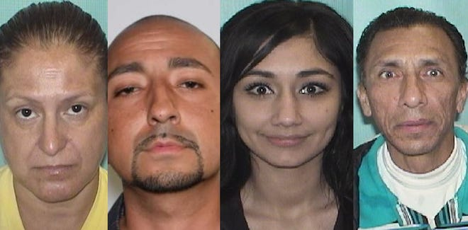 Four Carlsbad residents were arrested in connection with a suspect meth and heroine trafficking ring that Pecos Valley Drug Task Force officials said was headquartered in the city.