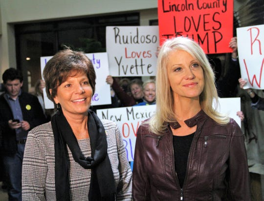 Republican Congressional District 2 candidate Yvette Herrell and Kellyanne Conway, a spokesperson for President Donald Trump, talk to reporters at the Republican Party of Lincoln County on Wednesday night, Oct. 31, 2018.