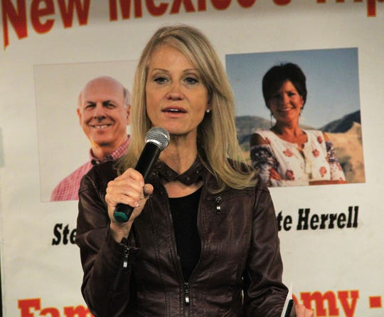 Kellyanne Conway rallied Republicans at the Get Out the Vote at the Republican Party of Lincoln County in Ruidoso Wednesday, Oct. 21, 2018.