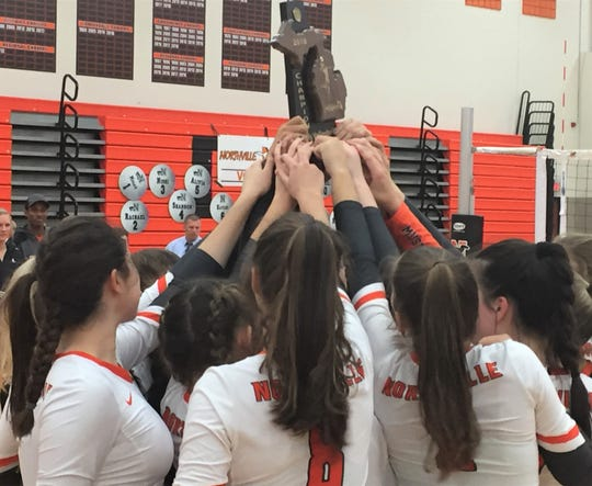 The Mustangs hoist their first district volleyball trophy since 2013.