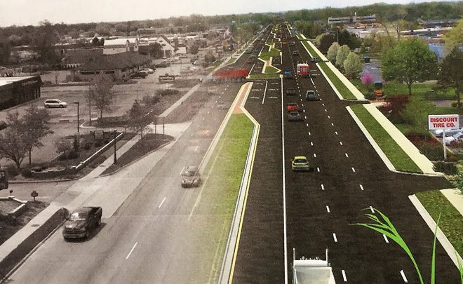 A drawing of how Ford Road may look once the boulevard project is completed.