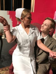 Elwood P. Dowd (Nick Smathers) with Nurse Ruth Kelly (Amy VanDyke).
