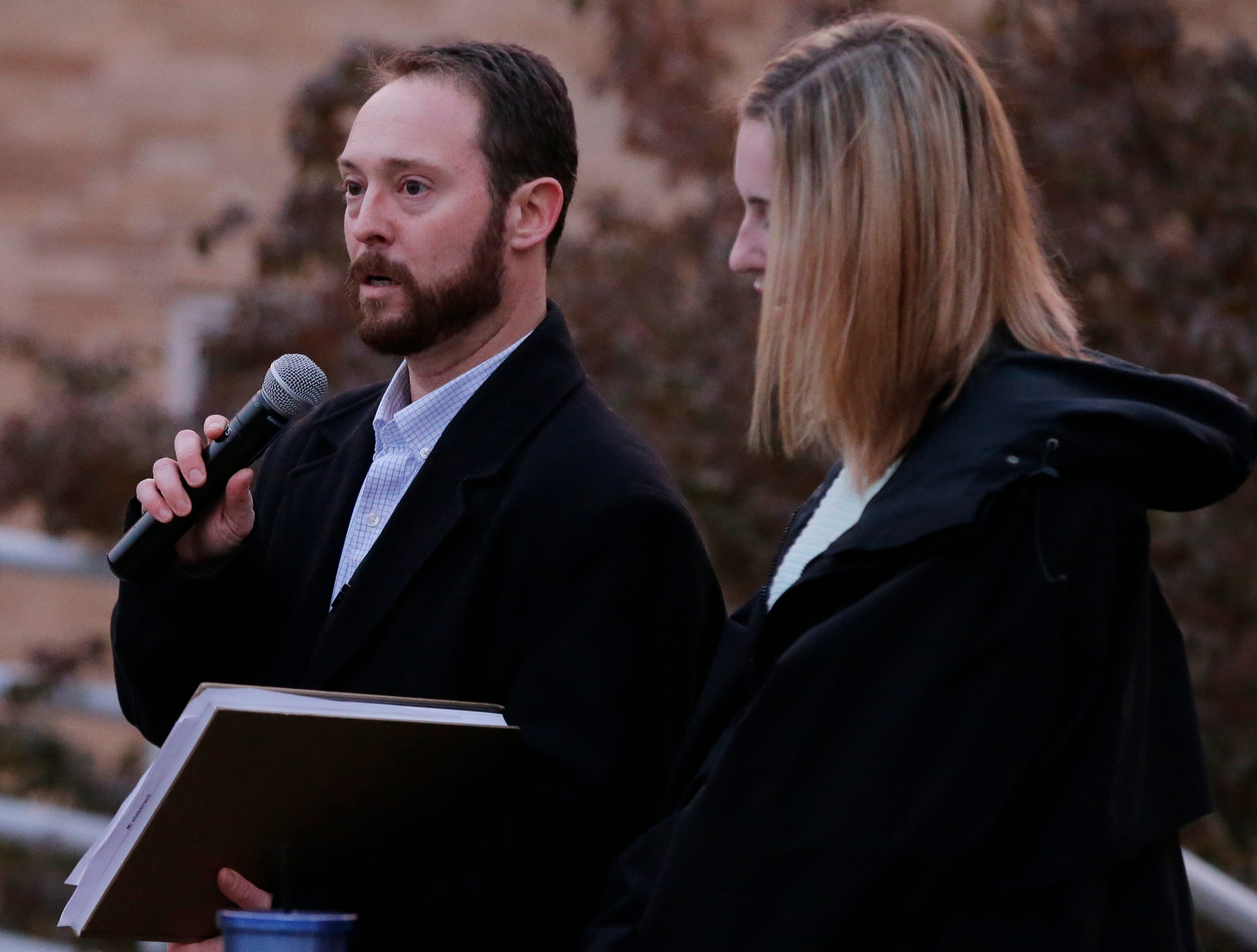 Andy Solomon  of Congregation B'nai Israel sings the Mi Shebereich during the vigil.  A candlelight vigil was held on the upper deck of UW-Oshkosh's Albee Hall Thursday, November 1, 2018, to come together and remember those killed at the Tree of Life Congregation in the Squirrel Hill neighborhood of Pittsburgh, Pa. Eleven people were killed and six injured in the attack.