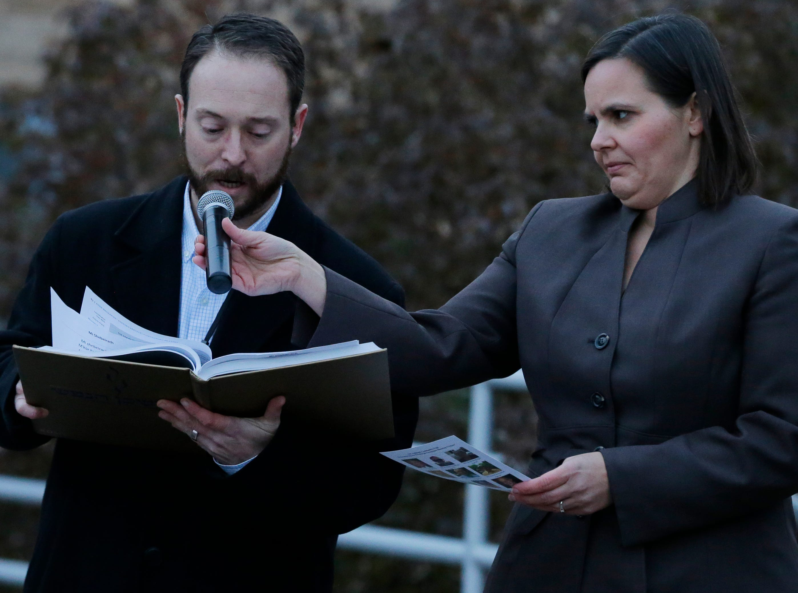 Andy Solomon  of Congregation B'nai Israel gives the blessing during the vigil.  A candlelight vigil was held on the upper deck of UW-Oshkosh's Albee Hall Thursday, November 1, 2018, to come together and remember those killed at the Tree of Life Congregation in the Squirrel Hill neighborhood of Pittsburgh, Pa. Eleven people were killed and six injured in the attack.