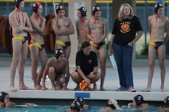 Palm Desert water polo takes a time-out in a second-round playoff game against Savanna High School, Palm Desert, Calif., Thursday, November 1, 2018.