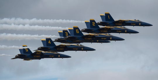 The Blue Angels take to the skies for the annual Homecoming Air Show last year over the base. The show will return this weekend.