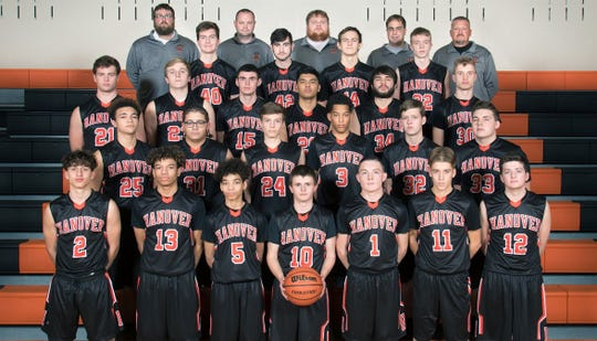 2017 team photo of the Hanover boys' basketball team. The team's head coach for the 2018 season, Barton Gibbon, stands in the center of the top row.