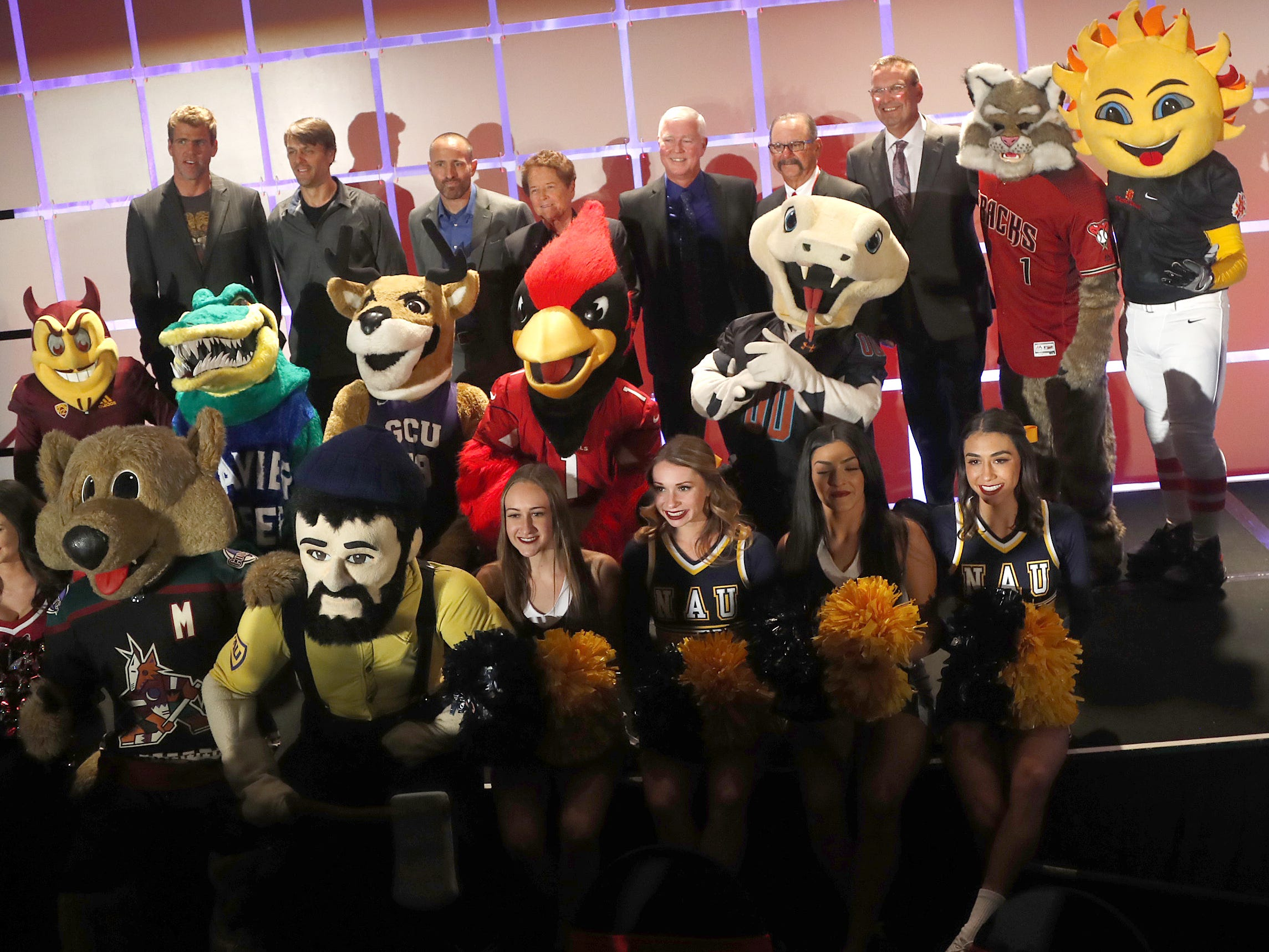 Arizona mascots take the stage with the 2018 inductees before the Arizona Sports Hall of Fame induction ceremony at the Scottsdale Plaza Resort in Scottsdale, Ariz. on November 1, 2018.