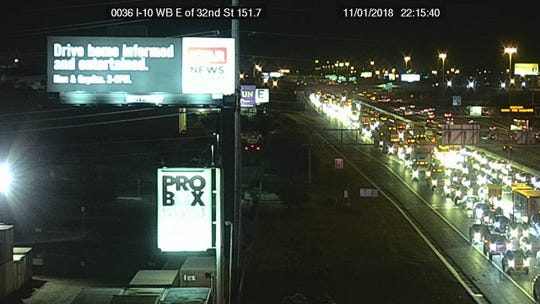Photo from an ADOT freeway camera shows the area of Interstate 10 near 32nd Street, where a semitruck rollover has shut the westbound freeway.