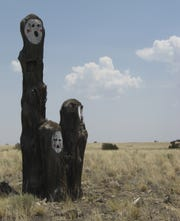 These painted stumps stand along U.S. 89, about 25 miles northeast of Flagstaff. No one knows who paints them, or why.