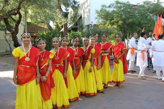 During the Discover India Festival, local dance groups perform classical Indian dances.
