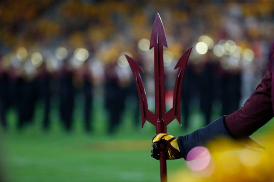 Sparky holds his pitchfork during a football game at Sun Devil Stadium in Tempe on September 1, 2018.