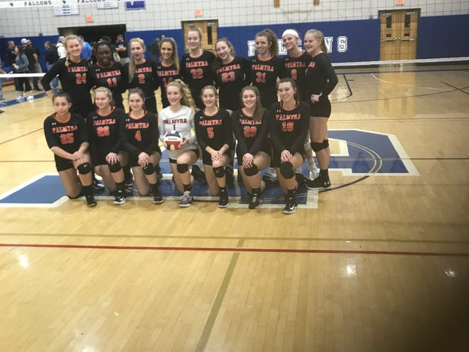 The Palmyra girls volleyball team is headed back to the district finals for the third year in a row.