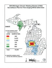 A map shows the Michigan Department of Natural Resources' deer head testing goals for 2018 across Michigan.