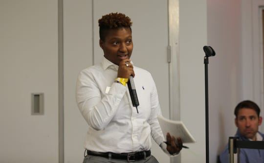 Tajiah Pink, a 20-year-old junior involved in student government, addresses the SUNY New Paltz College Council on Thursday night. She said she wanted to show that students care about the issue of campus building names.
