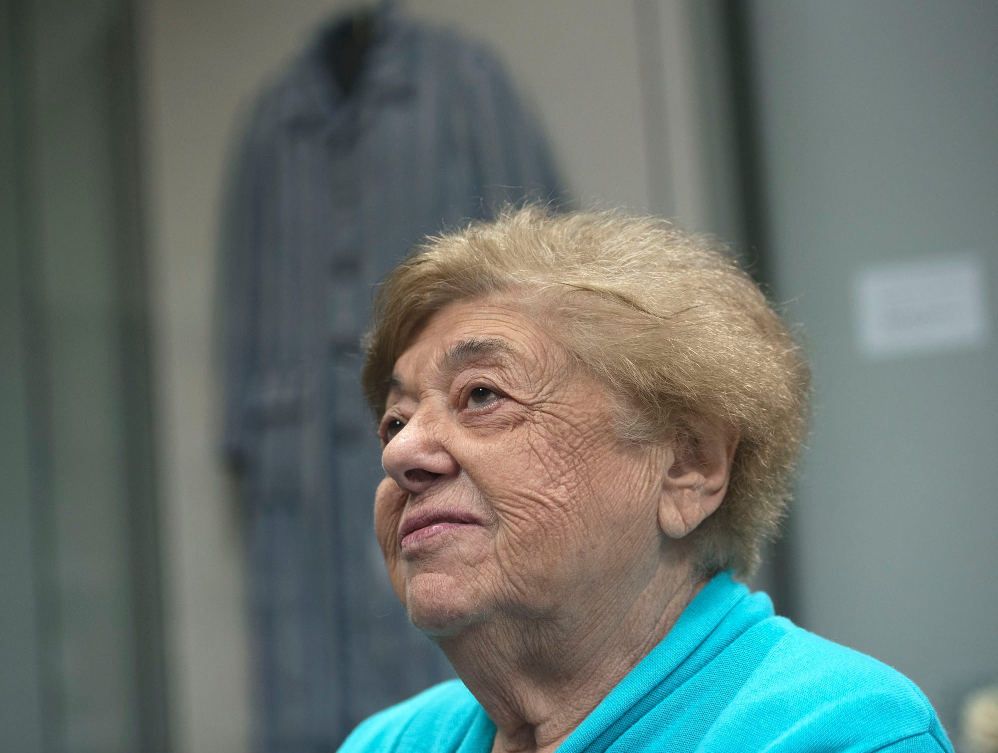 Magda Brown reflects on the time she spent in a concentration camp as a 17-year-old. Brown spoke to reporters Monday, October 29, 2018 at Holocaust Center of Pittsburgh.  A gunman entered the Tree of Life Congregation Synagogue in the Squirrel Hill neighborhood of Pittsburgh, Pa., and opened fire on the congregants and engaged police, Saturday morning, according to officials. (Markell DeLoatch, Public Opinion/via USA Today Network)