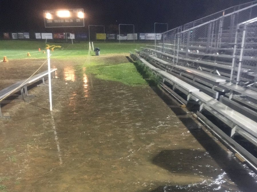 It's going to be difficult getting to these York Catholic bleachers without going through mud.